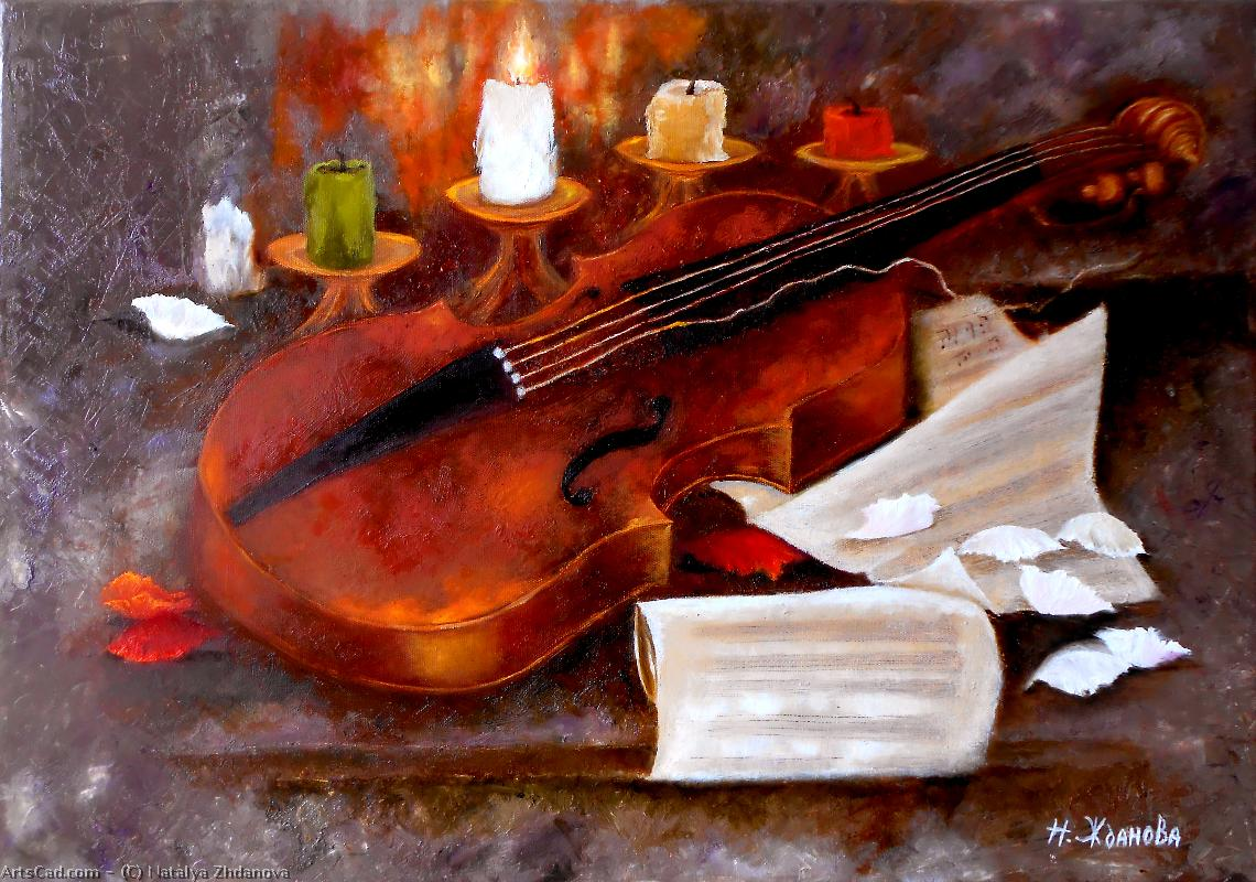 Произведения Искусства >> Natalya Zhdanova >> Still life violin painting art So far the candle burns