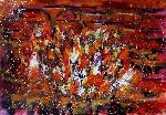 Natalya Zhdanova - Colorful abstract red painting Fireplace  acrylic on paper wall art