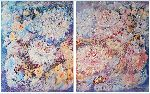 Natalya Zhdanova - Multi panel Floral abstract art fantasy Lilac Waltz of Flowers, diptych painting on canvas