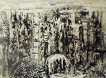 Natalya Zhdanova - Original abstract city wallpaper unique abstract black and white painting paper art in acrylik City requiem.