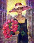 Tanya Andreeva - Oil painting Girl with flowers