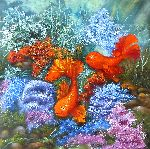 Natalya Zhdanova - Two Gold Fishes Original oil painting in handmade on canvas