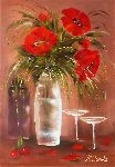 Natalya Zhdanova - Stil life Flowers Red Poppies Original oil Painting