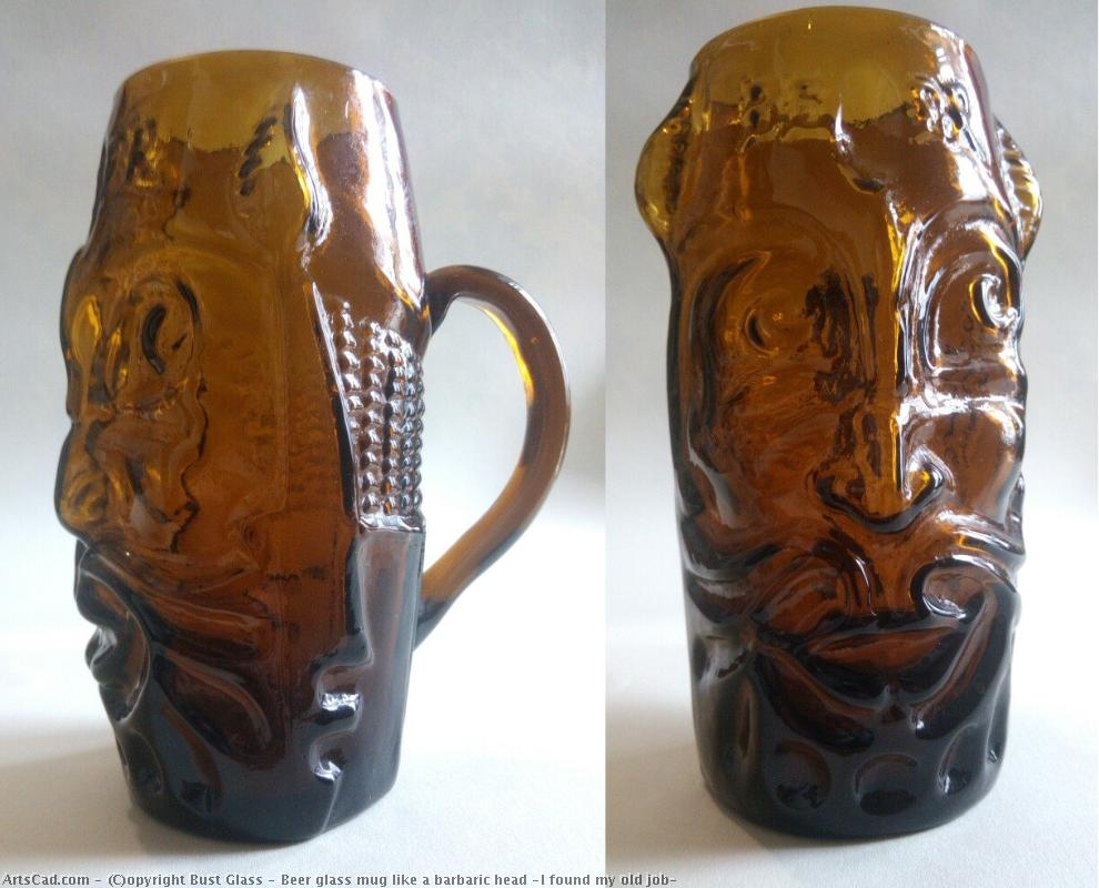 Искусство от Bust Glass : Bust Glass - Beer glass mug like a barbaric head (I found my old craftwork)